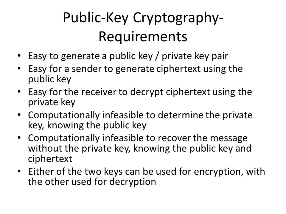 Public-Key Cryptography- Requirements