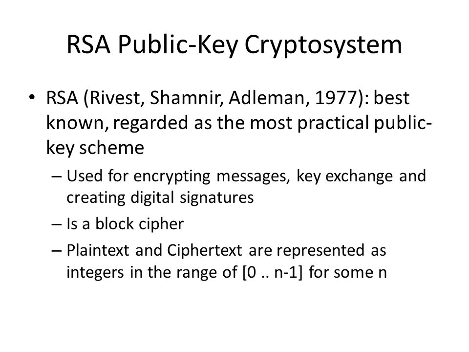 RSA Public-Key Cryptosystem