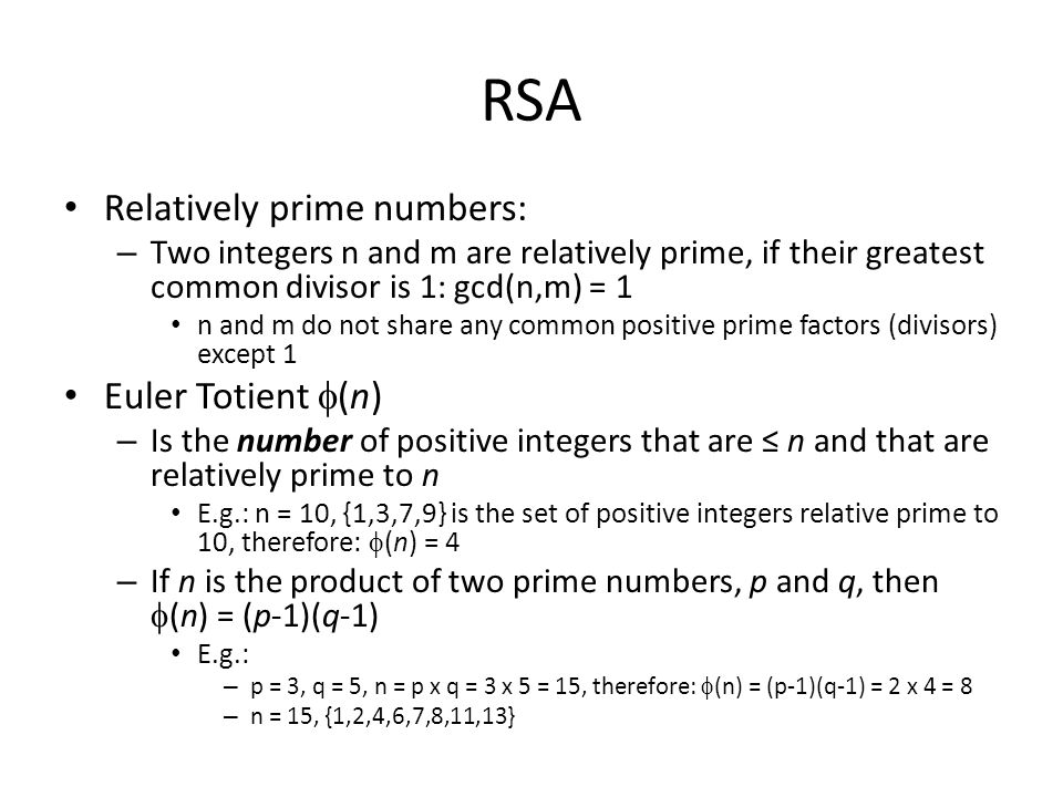 RSA Relatively prime numbers: Euler Totient (n)