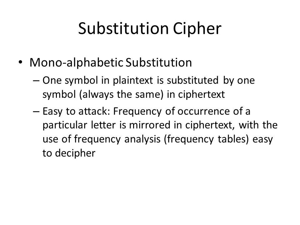 Substitution Cipher Mono-alphabetic Substitution