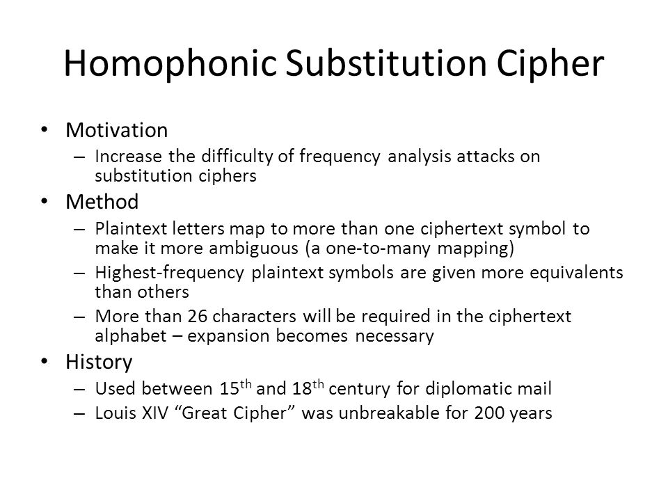 Homophonic Substitution Cipher