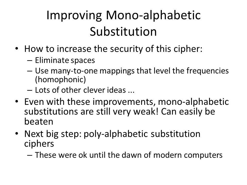 Improving Mono-alphabetic Substitution