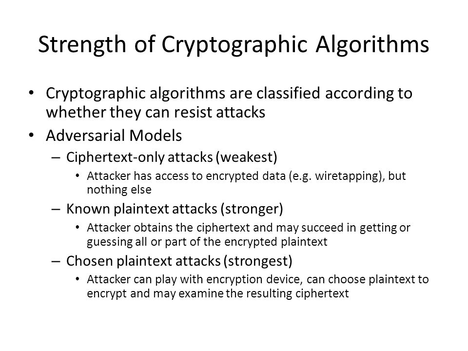 Strength of Cryptographic Algorithms