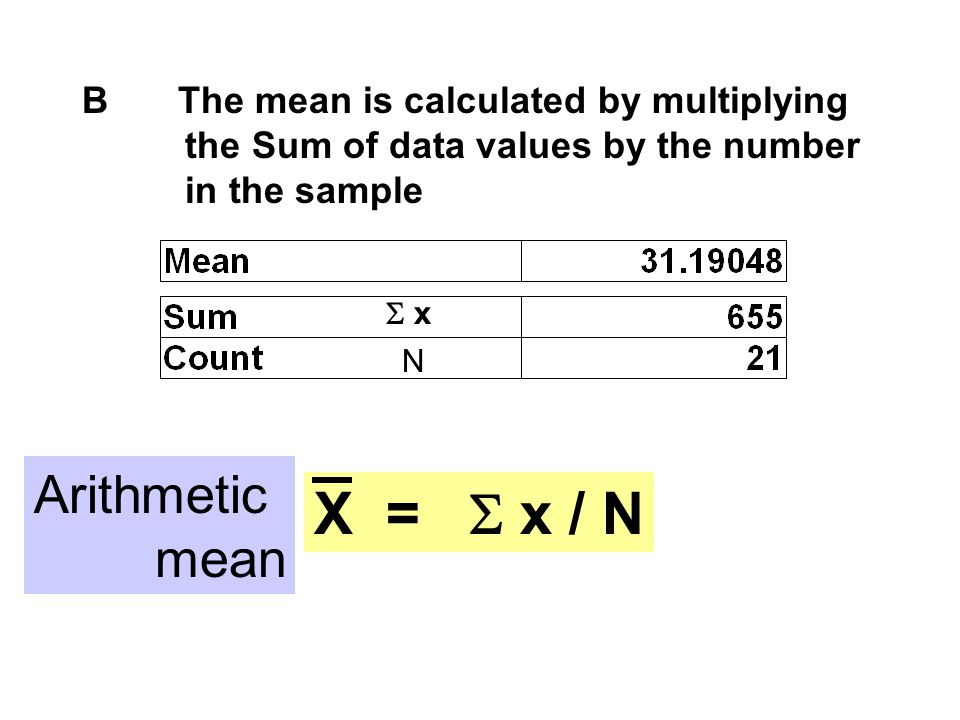 X = S x / N Arithmetic mean B The mean is calculated by multiplying