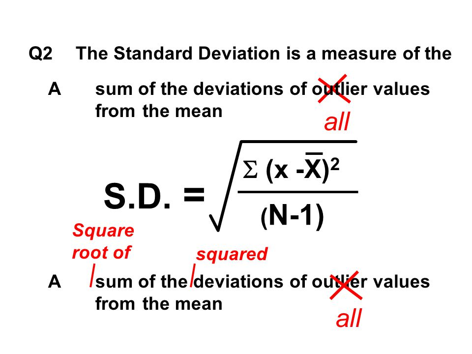 S.D. = all (x -X)2 all (N-1)