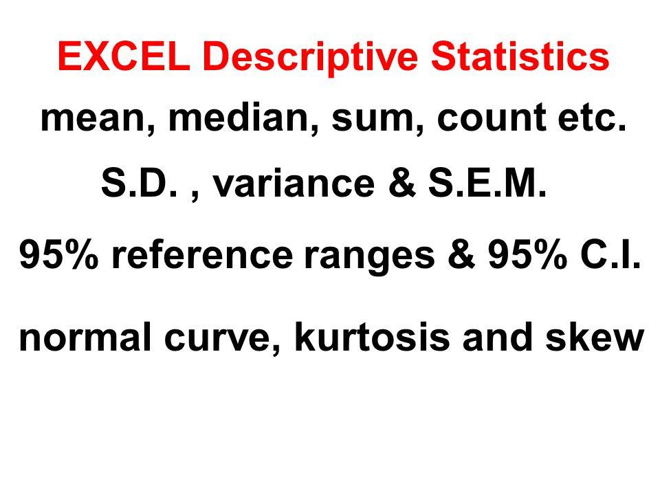 EXCEL Descriptive Statistics