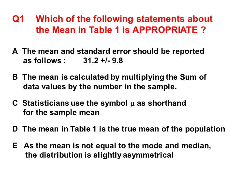 Q1 Which of the following statements about