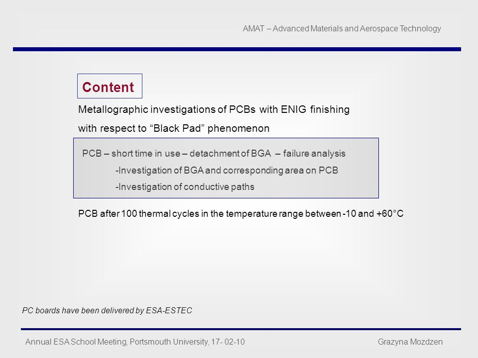 Content Metallographic investigations of PCBs with ENIG finishing