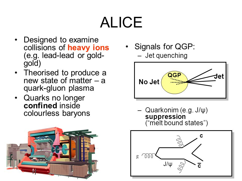 ALICE Designed to examine collisions of heavy ions (e.g. lead-lead or gold-gold) Theorised to produce a new state of matter – a quark-gluon plasma.