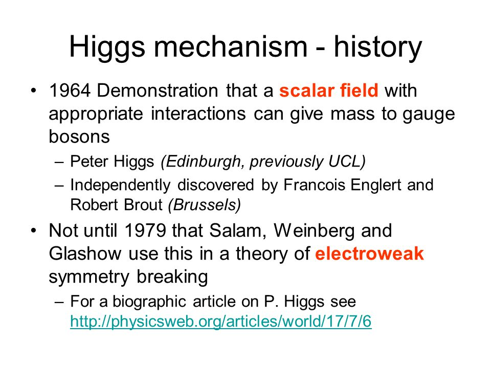 Higgs mechanism - history
