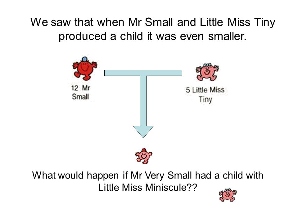 We saw that when Mr Small and Little Miss Tiny produced a child it was even smaller.