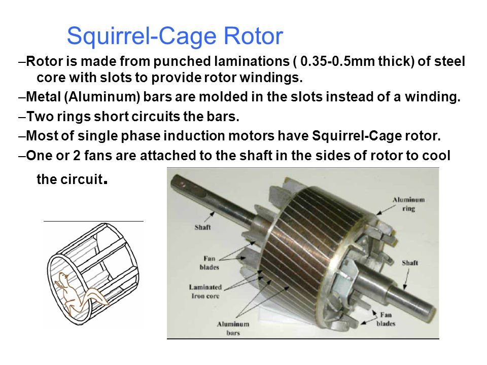 Squirrel-Cage Rotor –Rotor is made from punched laminations ( 0.35-0.5mm thick) of steel core with slots to provide rotor windings.
