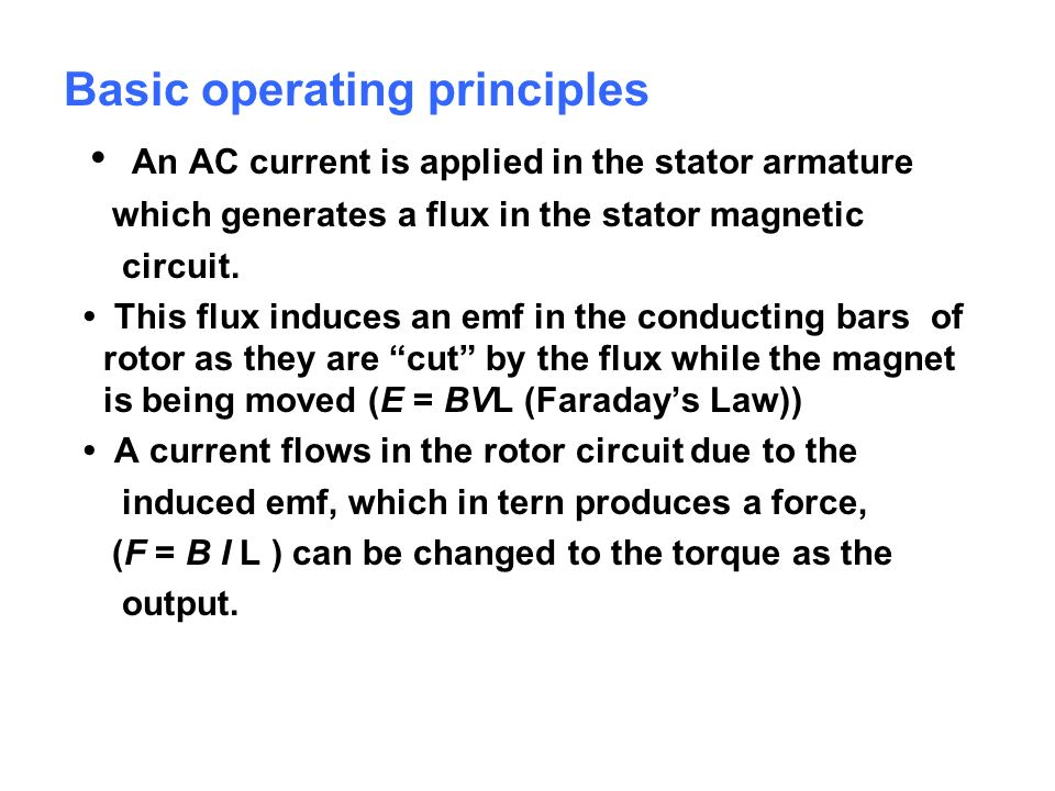 Basic operating principles