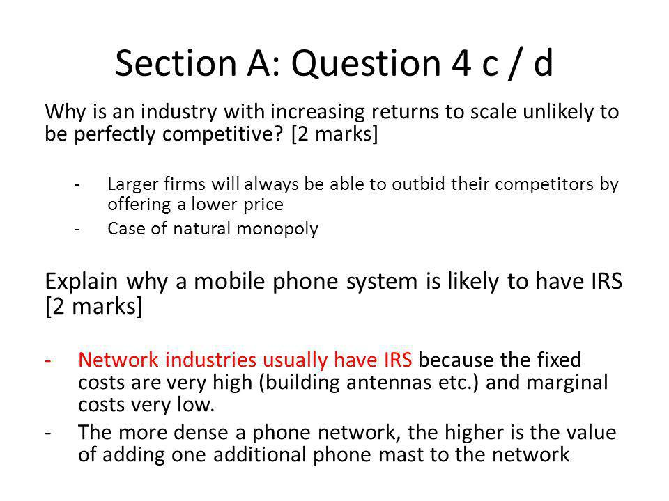 Section A: Question 4 c / d