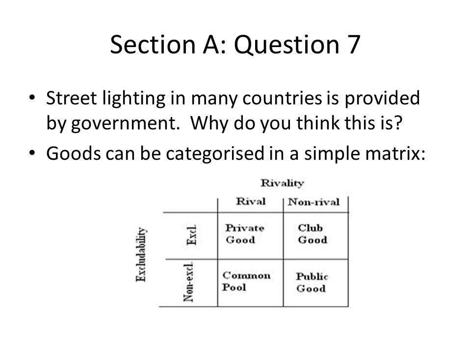 Section A: Question 7 Street lighting in many countries is provided by government. Why do you think this is