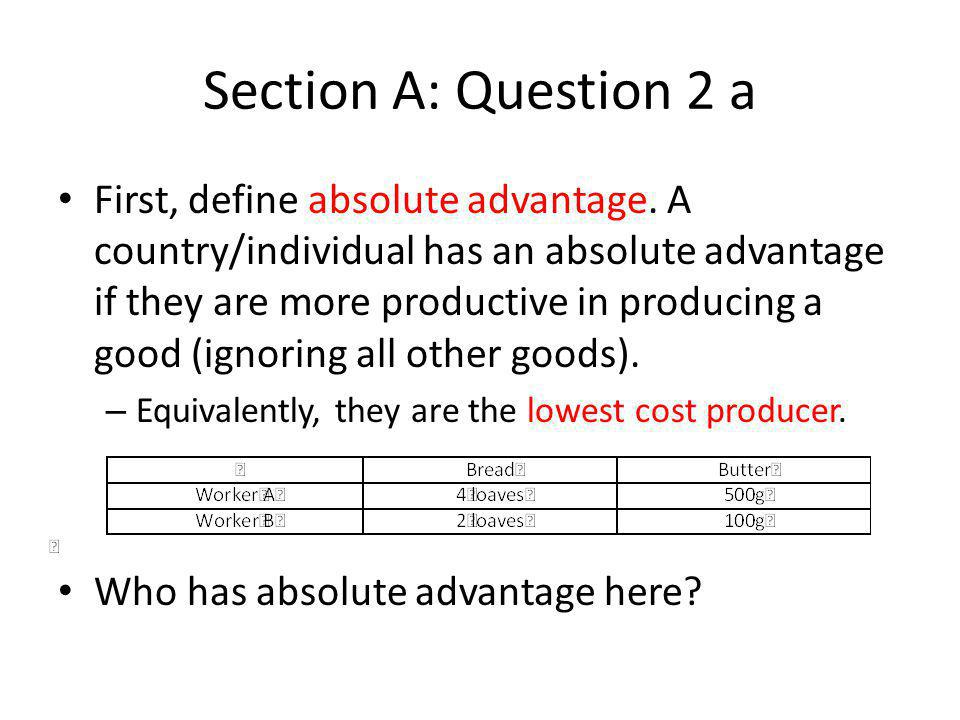 Section A: Question 2 a