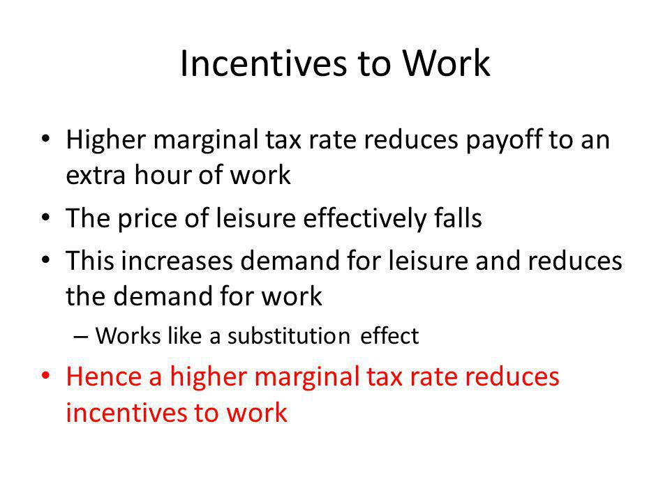 Incentives to Work Higher marginal tax rate reduces payoff to an extra hour of work. The price of leisure effectively falls.