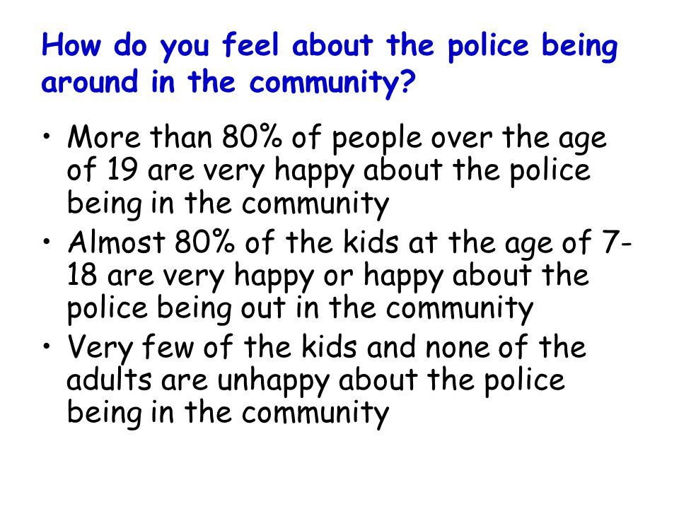 How do you feel about the police being around in the community