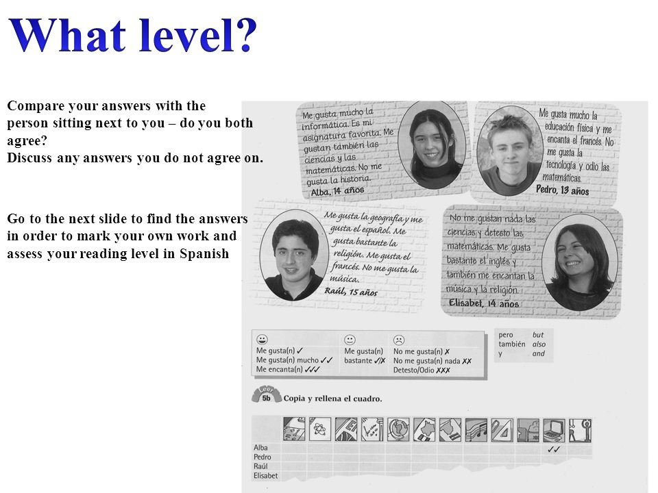 What level Compare your answers with the