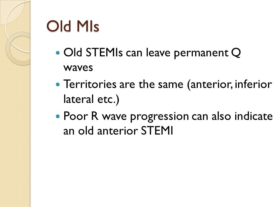 Old MIs Old STEMIs can leave permanent Q waves