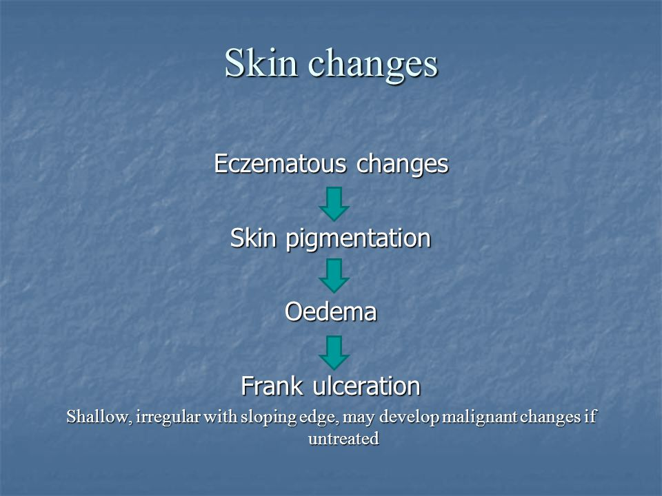 Skin changes Eczematous changes Skin pigmentation Oedema