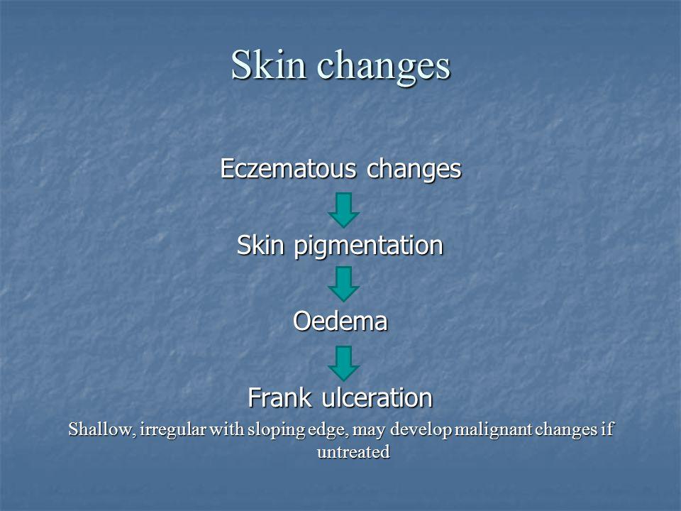 Skin changes Eczematous changes Skin pigmentation Oedema