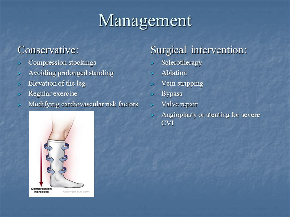 Management Conservative: Surgical intervention: Compression stockings
