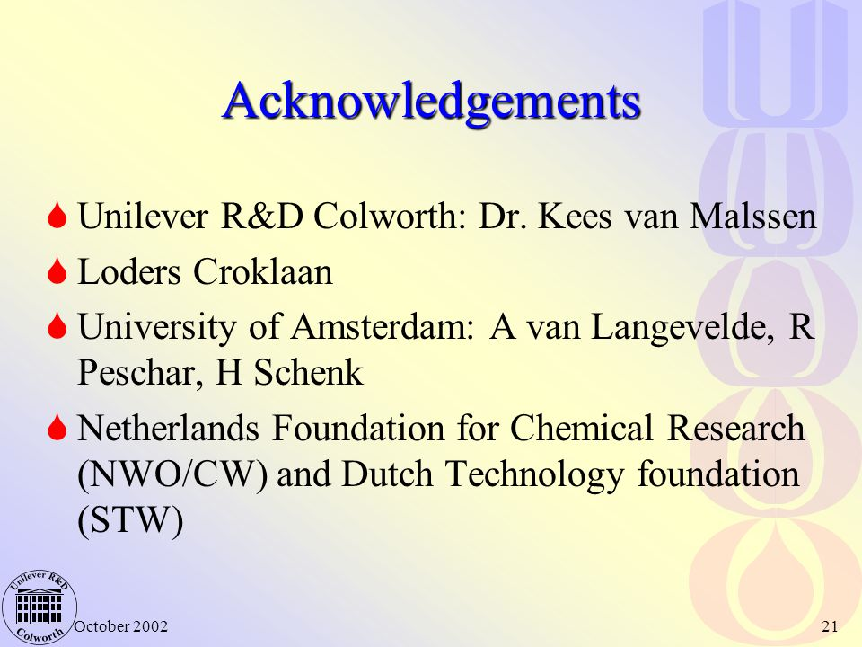 Acknowledgements Unilever R&D Colworth: Dr. Kees van Malssen