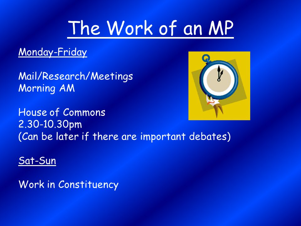 The Work of an MP Monday-Friday Mail/Research/Meetings Morning AM
