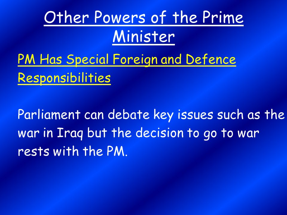 Other Powers of the Prime Minister