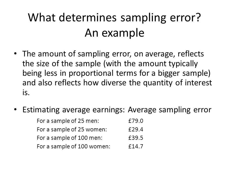 What determines sampling error An example