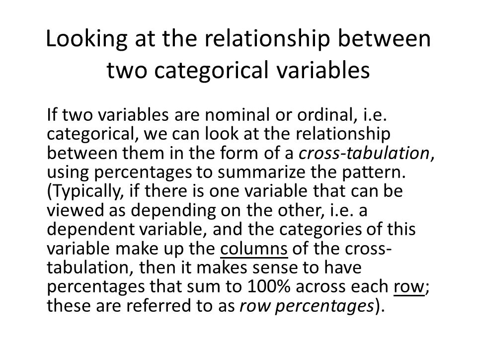 Looking at the relationship between two categorical variables