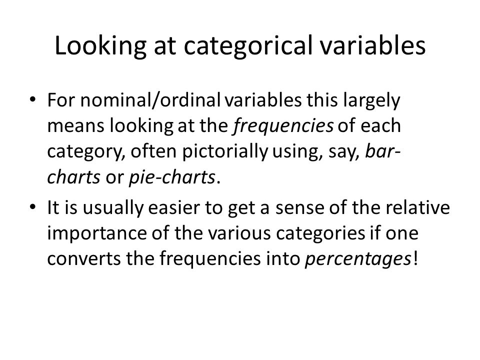 Looking at categorical variables