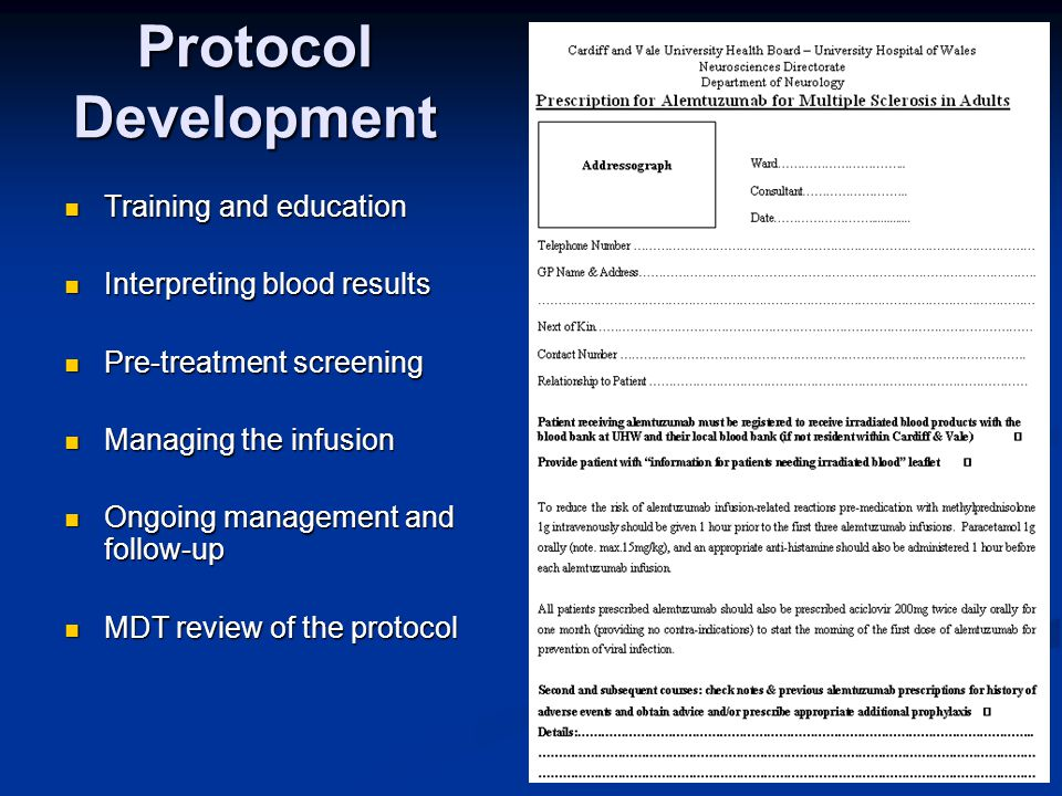 Protocol Development Training and education Interpreting blood results