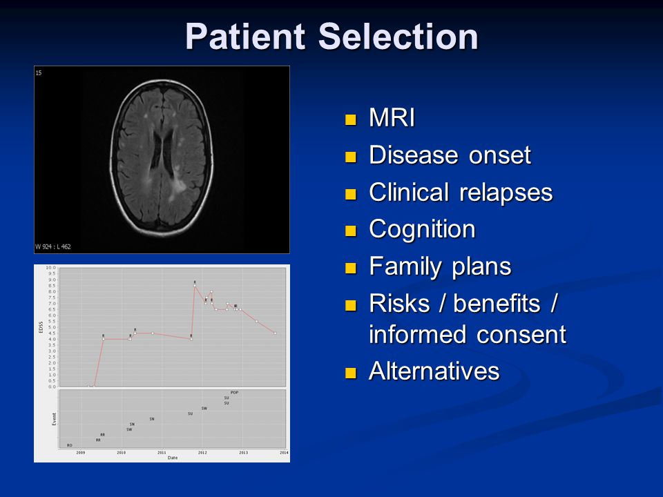 Patient Selection MRI Disease onset Clinical relapses Cognition