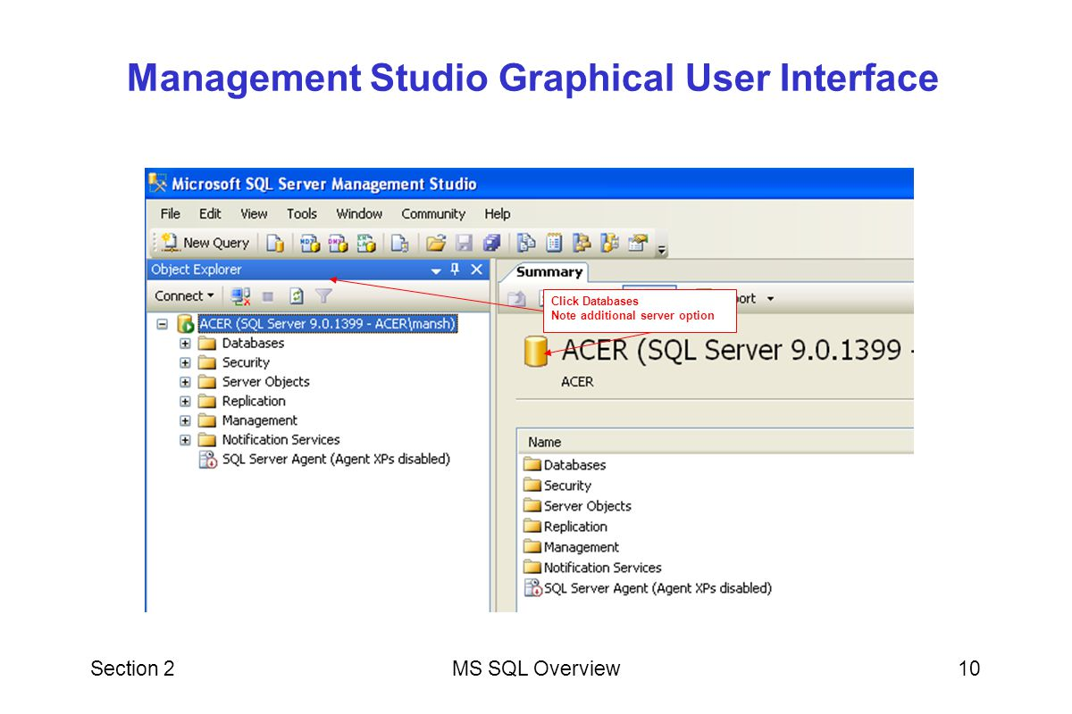 Management Studio Graphical User Interface
