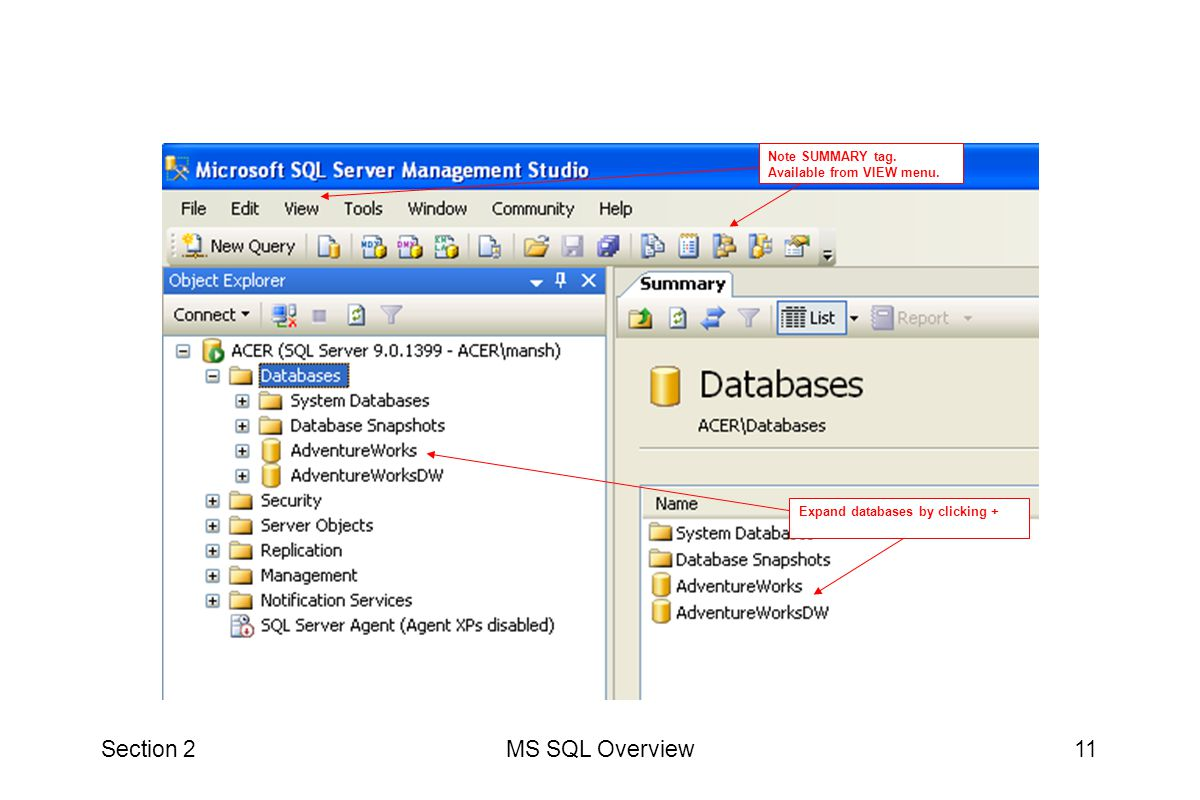 Section 2 MS SQL Overview Note SUMMARY tag. Available from VIEW menu.