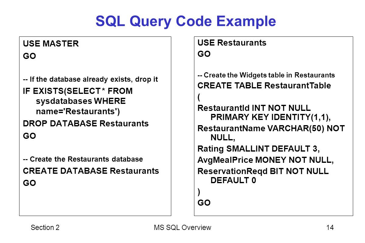 SQL Query Code Example USE MASTER GO