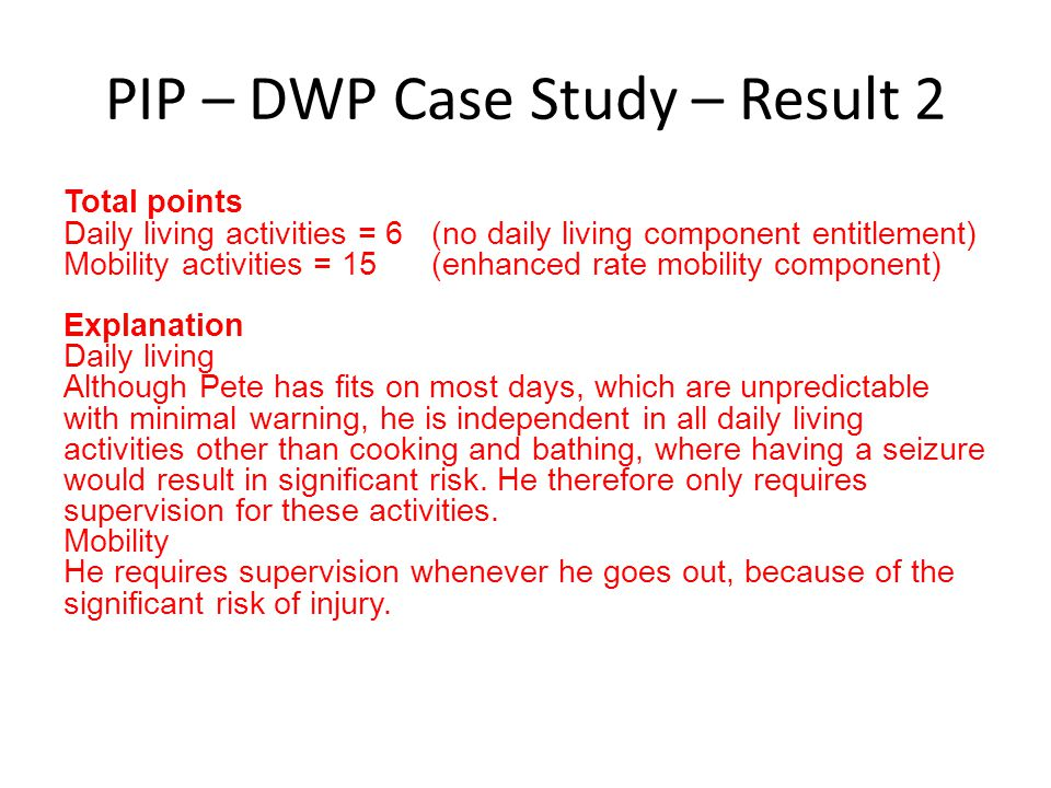 PIP – DWP Case Study – Result 2