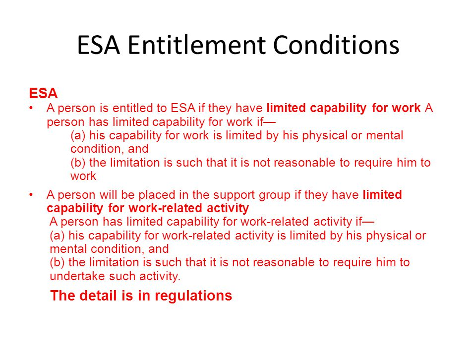 ESA Entitlement Conditions