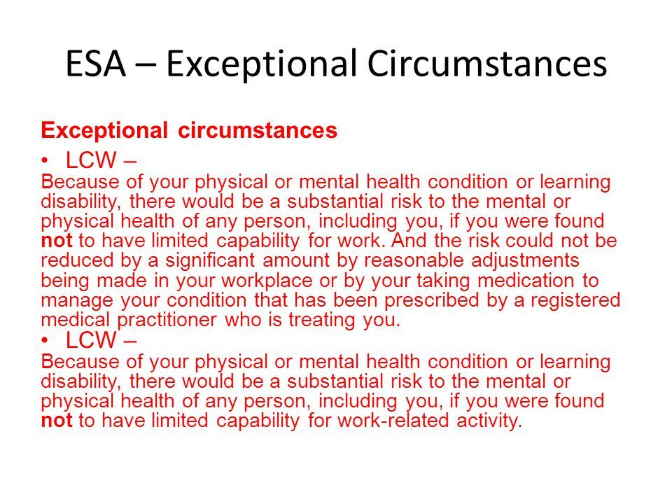 ESA – Exceptional Circumstances