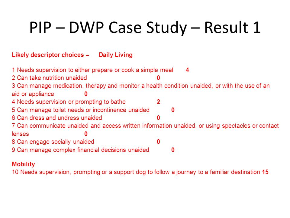 PIP – DWP Case Study – Result 1