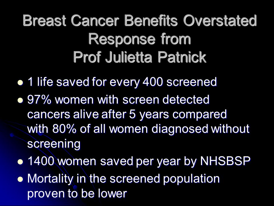 Breast Cancer Benefits Overstated Response from Prof Julietta Patnick
