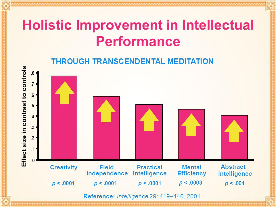 Holistic Improvement in Intellectual Performance