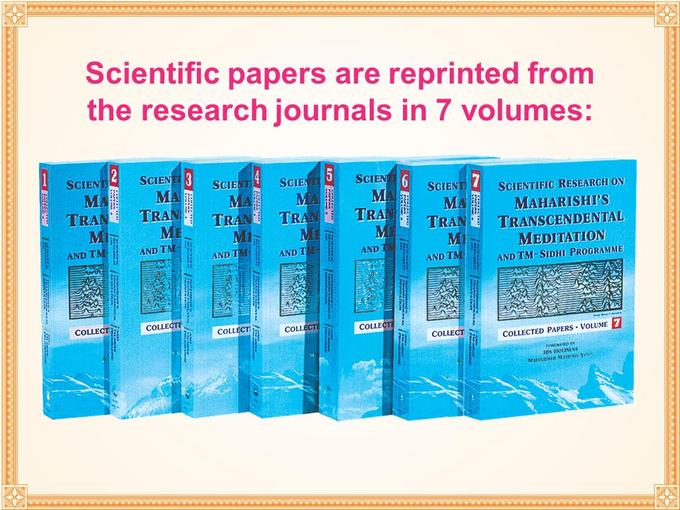 Scientific papers are reprinted from the research journals in 7 volumes: