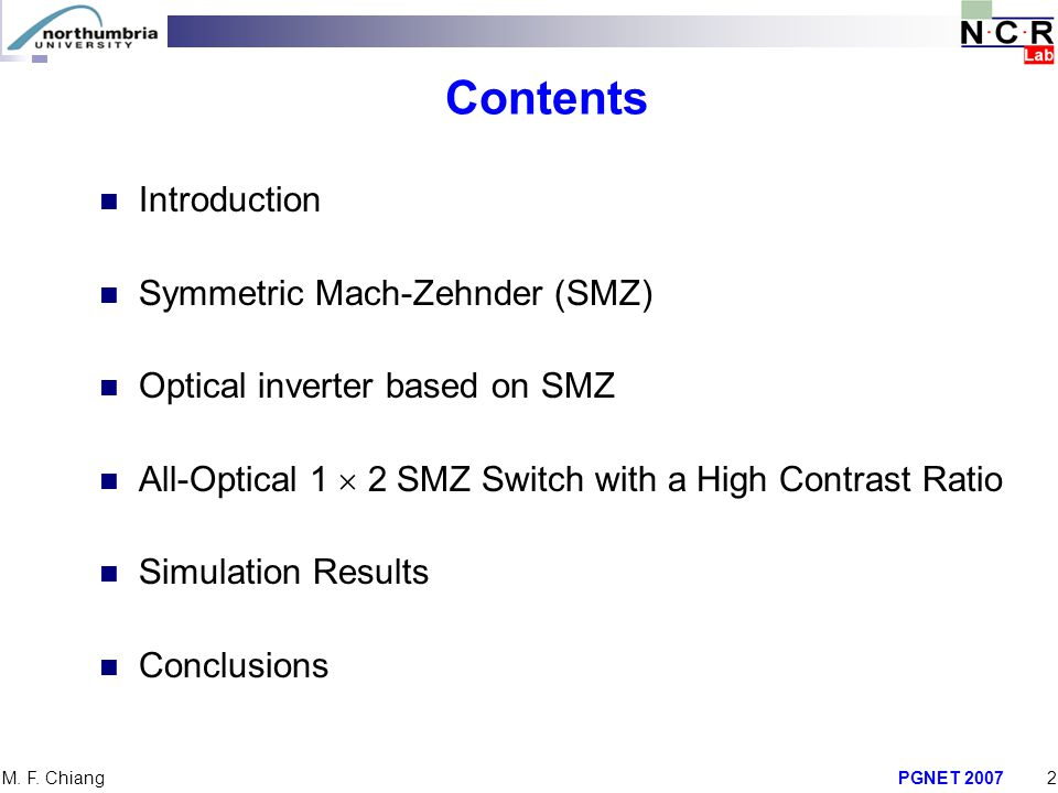 Contents Introduction Symmetric Mach-Zehnder (SMZ)