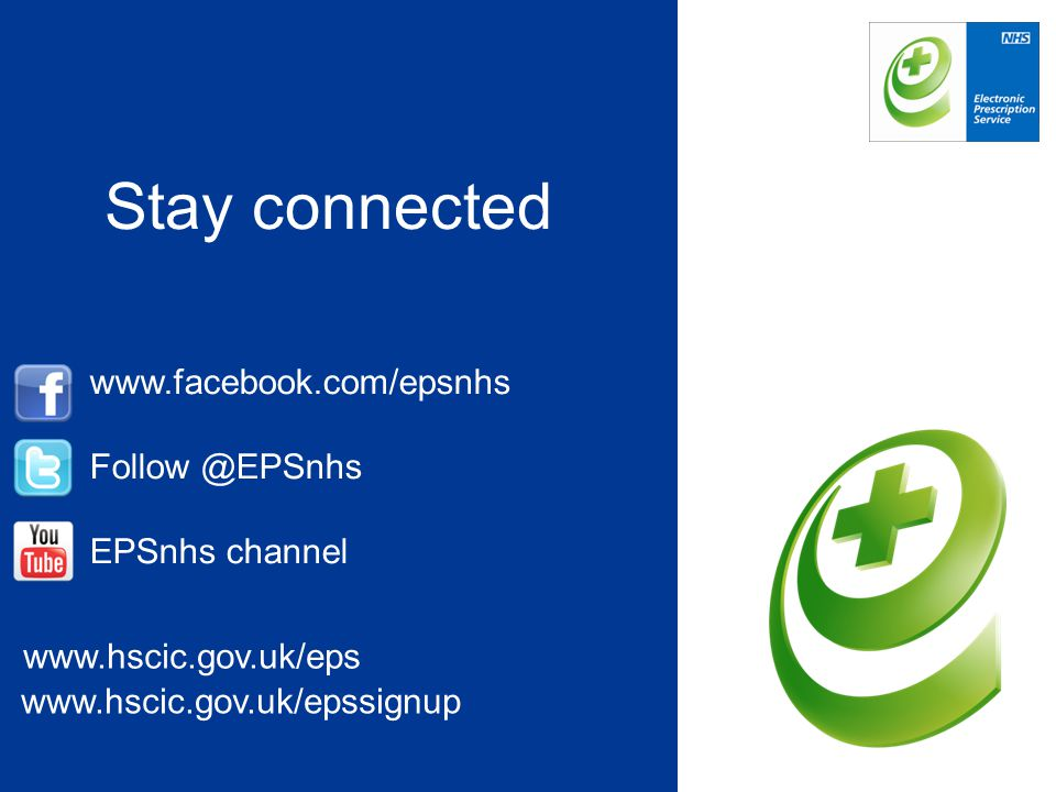 Stay connected www.facebook.com/epsnhs Follow @EPSnhs EPSnhs channel