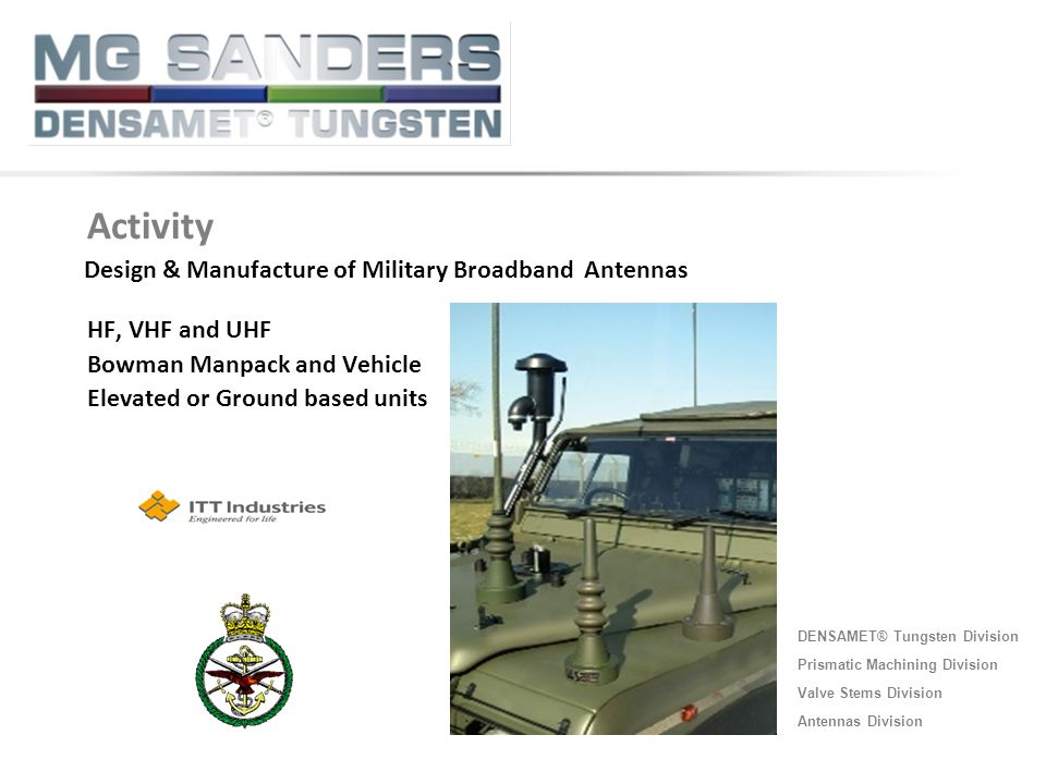 Activity Design & Manufacture of Military Broadband Antennas