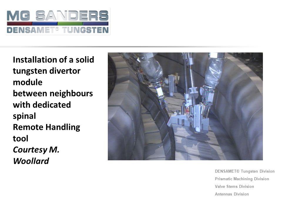 Installation of a solid tungsten divertor module