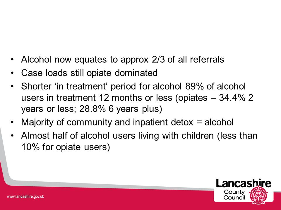 Alcohol now equates to approx 2/3 of all referrals